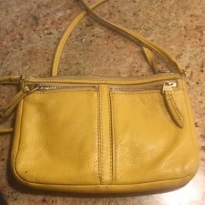 Fossil yellow leather crossbody wallet bag